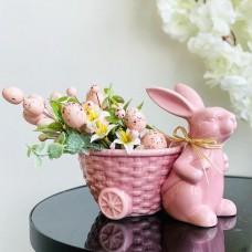 Кашпо Зайка с корзиной, 20см,цвет - розовый