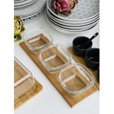 Комплект 3 стеклянные тарелки на бамбуковой подставке
