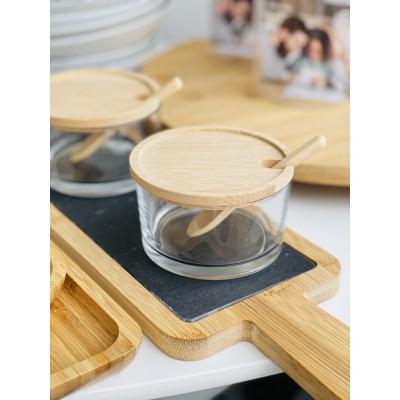 Комплект 2 стеклянные емкости с бамбуковыми крышками