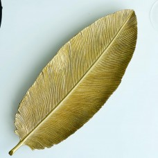 Декоративное изделие Перо, 38см, цвет - состаренное золото