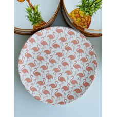 Тарелка фарфоровая 21.5см с тиснением Розовый фламинго