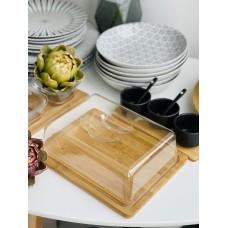 Доска бамбуковая для сыра с крышкой