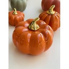 Декор фарфоровый Тыковка, 13см, цвет - оранжевый глянец с золотом