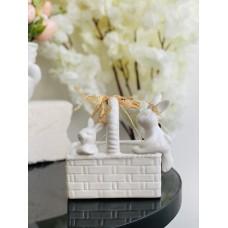 Кофетница/кашпо Зайки в корзинке, 16см, цвет - белый