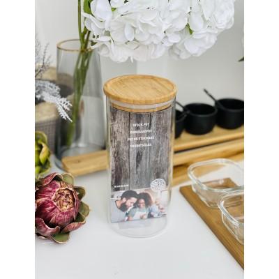 Емкость стеклянная с бамбуковой крышкой 10*22см