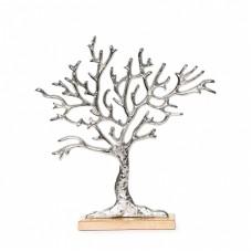 Дерево алюминиевое на деревянной подставке 32.5х7 см