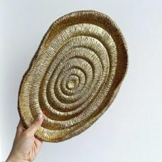 Декоративное блюдо в африканском стиле, 25см, цвет - золотой состаренный