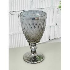 "Декоративный бокал крашенное стекло ""Rhombus small"" серебро"
