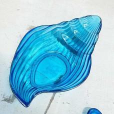 Пиала ракушка синее стекло серебро 19см