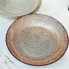 Блюдо стеклянное  розовое золото 27х5 см