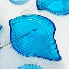 Блюдо ракушка синее стекло серебро 20.5х2.3 см