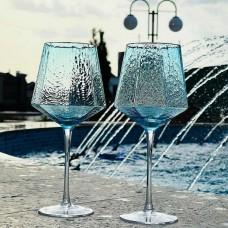Бокал для красного вина с золотым кантом Monaco, 570мл, цвет - ледяной голубой
