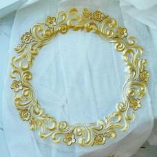 Сервировочная тарелка стеклянная, цвет - прозрачный с золотым узорным кантом, 33см
