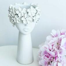 Керамическая ваза Девушка в цветах белая, 30 см