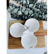 Менажница керамічна на три секції Bianco, 21см, колір - білий