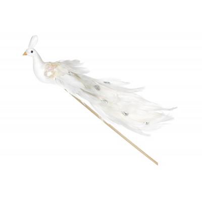 Декоративная птица Павлин 22см, цвет - белый