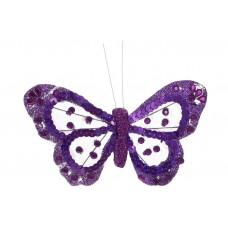 Декоративная бабочка на клипсе 15см, цвет - фиолетовый