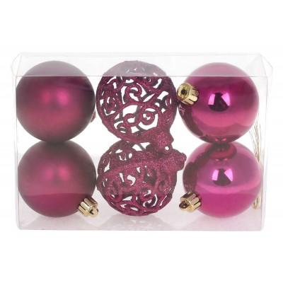 Набор елочных шаров Ажур, 6см, цвет - магнолия, 6шт: 2шт - матовый, 2шт - глянец, 2шт - ажур глиттер