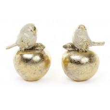 Декоративная статуэтка Птичка на яблоке 9.5см, 2 дизайна, цвет - золото