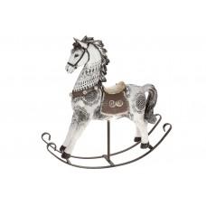 Декоративная статуэтка Лошадка-качалка, цвет - белый, 30см