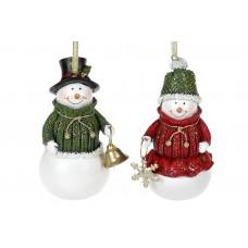 Декоративная подвесная фигурка Снеговик, 11.5см, 2 дизайна, цвет - зелёный и красный