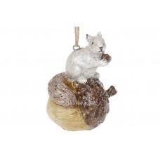 Декоративная подвесная фигурка Белочка на желуде, 10.5см, цвет - коричневый