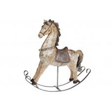Декоративная статуэтка Лошадка-качалка, цвет - коричневый с золотом, 30см