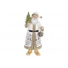 Декоративная статуэтка Санта Клаус, 25см, цвет - белый с золотом