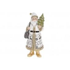 Декоративная статуэтка Санта Клаус, 19.5см, цвет - белый с золотом