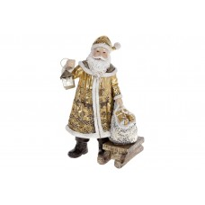 Декоративная статуэтка Санта Клаус, 24.5см, цвет - золотой