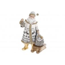 Декоративная статуэтка Санта Клаус, 24.5см, цвет - белый с золотом