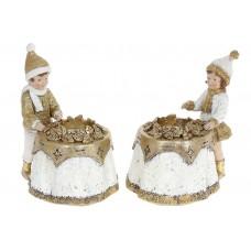 Подсвечник декоративный Мальчик и Девочка для 1 свечи, 17см, 2 дизайна, цвет - белый с золотом