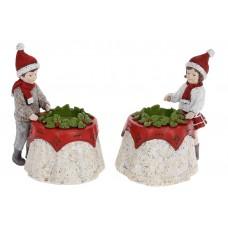 Подсвечник декоративный Мальчик и Девочка для 1 свечи, 17см, 2 дизайна, цвет - белый с красным