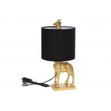 Лампа настольная 42см с декоративным основанием Жираф и тканевым абажуром, цвет - черный с золотом