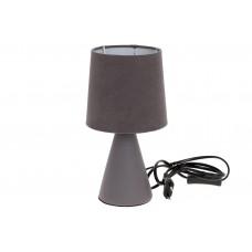 Лампа настольная 25см с фарфоровым основанием и тканевым абажуром, цвет - серый