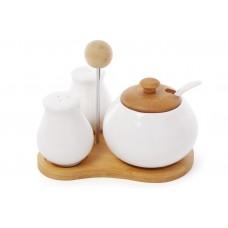 Набор для специй (солонка и перечница) + сахарница с ложкой 'Naturel' на бамбуковой подставке
