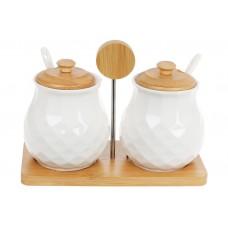 Набор (2 шт) банок 300мл для сыпучих продуктов с ложками на бамбуковой подставке Naturel, 20см