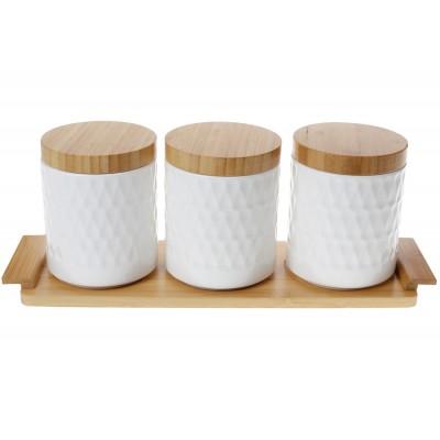 Набор (3 шт) банок 550мл для сыпучих продуктов Naturel на бамбуковой подставке, 38см