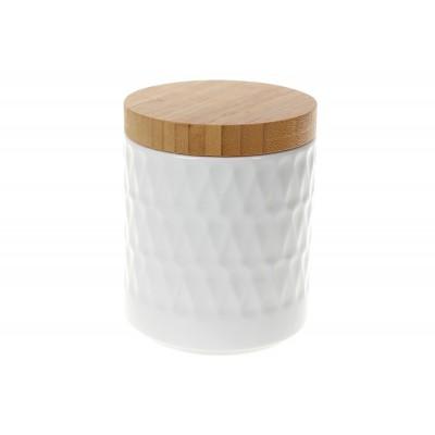 Банка фарфоровая 550мл для сыпучих продуктов Naturel с бамбуковой крышкой