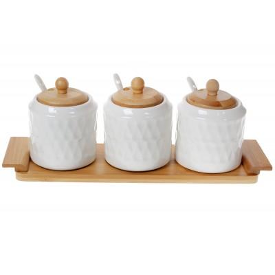 Набор (3 шт) банок 300мл для сыпучих продуктов Naturel с ложками (3 шт) на бамбуковой подставке, 33см