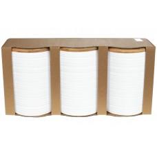 Набор (3шт) керамических банок 800мл с бамбуковыми крышками с объемным рисунком Линии, цвет - белый