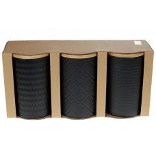 Набор (3шт) керамических банок 800мл с бамбуковыми крышками с объемным рисунком Модерн, цвет - черный матовый