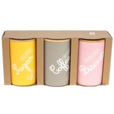 Набор (3шт) керамических банок 650мл с бамбуковыми крышками Organic, микс цветов - розовый, бежевый, желтый