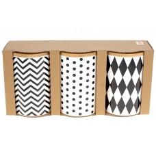 Набор (3шт) керамических банок 650мл с бамбуковыми крышками Геометрия, цвет - белый с черным