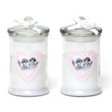 Свеча ароматизированная (большая) в стекле с декором (195г), аромат: розовая вода, 2 вида