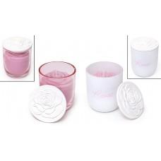 Свеча ароматизированная в стекле с фарфоровой крышкой (120г), аромат: розовая вода, 2 вида