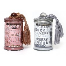 Свеча ароматизированная в стекле с крышкой и кисточкой, малая (серебро и бронза в асс, 110г)