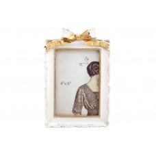 Рамка для фото Бант, 21см, цвет - сливочно-белый с золотой патиной