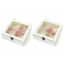 Коробка для чая деревянная со стеклянной крышкой Цветы, цвет - состаренный белый