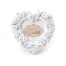 Рамка для фото из искусственного камня Розы белая